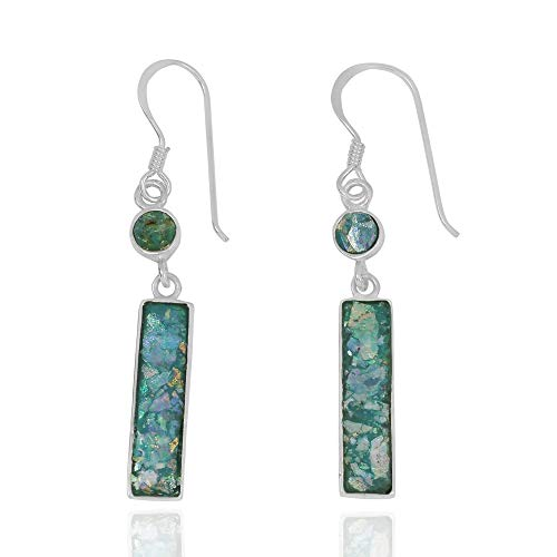- 925 Sterling Silver Rectangular Roman Glass Earrings with 1 Round Shape Roman Glass Stone