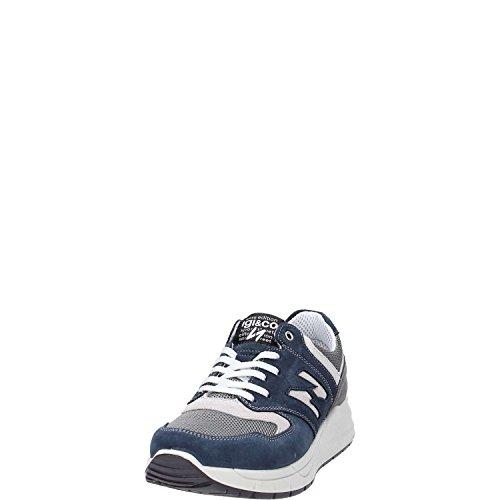 IGI & CO 57116 hombres grises las zapatillas de deporte del zapato de gamuza cordones de tela + Blu Scuro/grigio