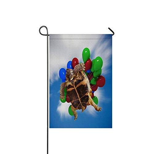 InterestPrint Funny Turtle Balloons Long Polyester Garden Flag 12 x 18 inch Decorative Wedding Anniversary Home Outdoor Decor