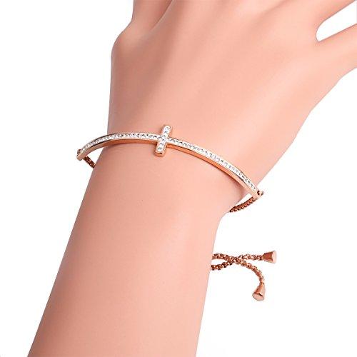 AZFEIYA AAA cz Bracelet Sideways Cross Bracelet Cubic Zirconia Bracelet 18K Rose Gold Jewelry Crucifix Bracelet (Rose Gold) ()