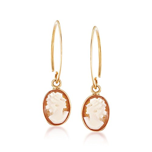 Ross-Simons Oval Shell Cameo Drop Earrings in 14kt Yellow Gold