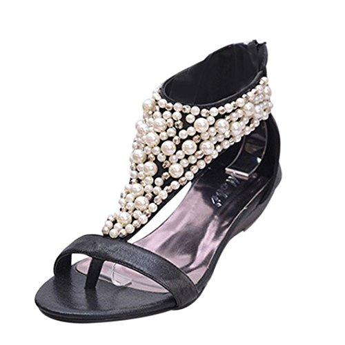 Transer 2016 1Pair Mujeres New Bohemia dulce color de la bola de lana sandalias planas del dedo del pie con correas de la cubierta Negro