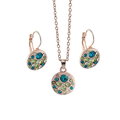 (Jewelry Sets For Women & Women Fashion Rhinestone Jewelry Earrings Round Pendant Long Chain Necklace,Jewelry Set Gift for Women,Jewelry Set Gifts fit with Wedding Dress)
