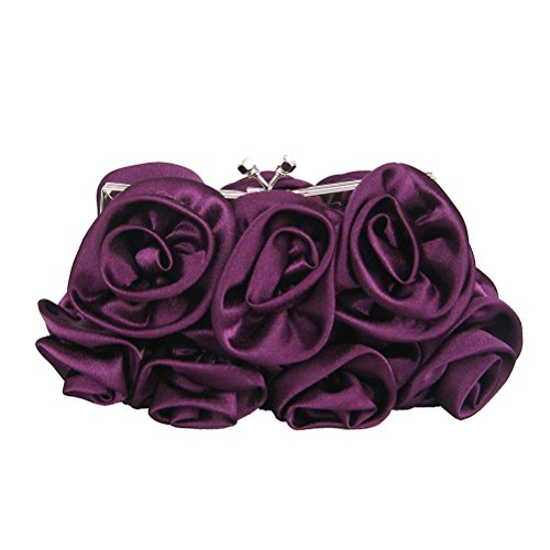 (Unique Ruffle Silk Women Evening Clutch Fashion Applique Rose Flower Kiss Lock Chain Bride Wedding Crossbody Shoulder Bag (Purple))