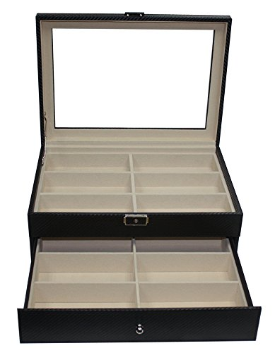 12 Sunglasses Case with Drawer Extra Large Black Carbon Fiber by TimelyBuys (Image #4)