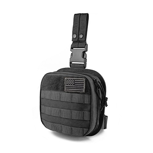 SHANGRI-LA Utility Tactical Drop Leg Pouch with MOLLE Platform Rip-Away EMT Medical First Aid Kit Pouch EDC Detachable and Attachable
