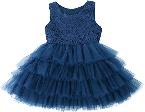 Jup'Elle Baby Girl Dresses Extra Soft Crochet Lace Ruffles Pageant Wedding Party Flower Girl Royal Blue Dresses 18-24months -