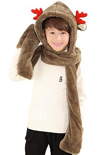 l Hat Cosplay Cap - Unisex Fit Adult & Children- Soft Warm Headwraps Headwear with Mittens (Brown) (Fleece Cosplay Cap)