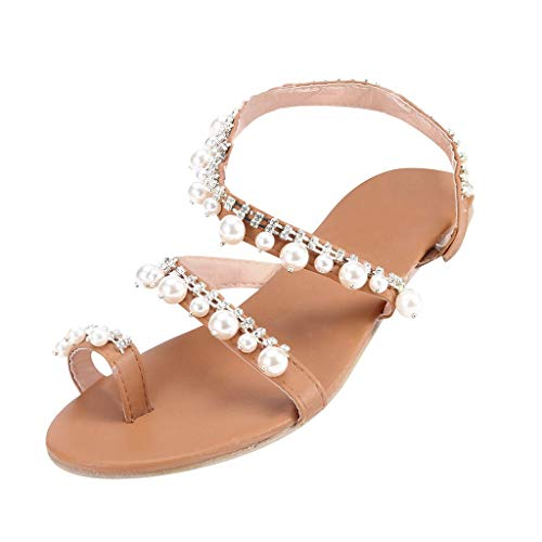 Duseedik Women's Rhinestone Sandals Summer Toe Breathable Pearls Flat Heel Flip Flops Handmade Beach Outdoor Shoes Gold