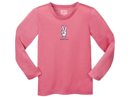 Life is good Girls' Sleep Tee , Peace Out on Hot Pink-SM (5/6 Little Kids)