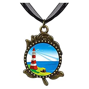 Chicforest Bronze Retro Style Travel Culture Lighthouse Rose Flower Pendant Pendant Necklaces
