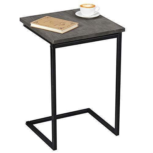 MyGift 24-Inch Black Metal & Vintage Gray Wood Sliding End Table