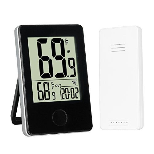 Sondiko Indoor Outdoor Thermometer, LCD Digital Thermometer with Wireless Sensor Min/Max Temperature Record Clock (Indoor Records)