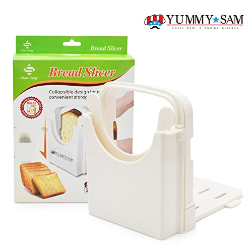 Bread Slicer Toast Slicer Yummy Sam@ Bread Cutting Guide Bread Toast Bagel Loaf Slicer Cutter Mold Sandwich Maker Toast Slicing Machine Foldable and Adjustable with 5 Slice Thicknesses