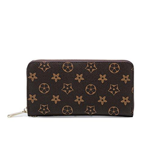 SUNNY Famous Brand New Womens Monogram Canvas Wallet on Sale Flower Designer Purse Zipper Organizer Card Holder