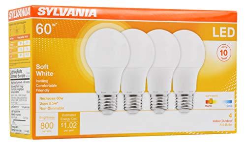 SYLVANIA General Lighting 73888 046135738883 SYLVANIA, 60W Equivalent, LED Light Bulb, A19 Lamp, 4 Pack, Soft White, Energy Saving & Longer Life, Medium Base, Efficient 8.5W, 2700K, 4 Count