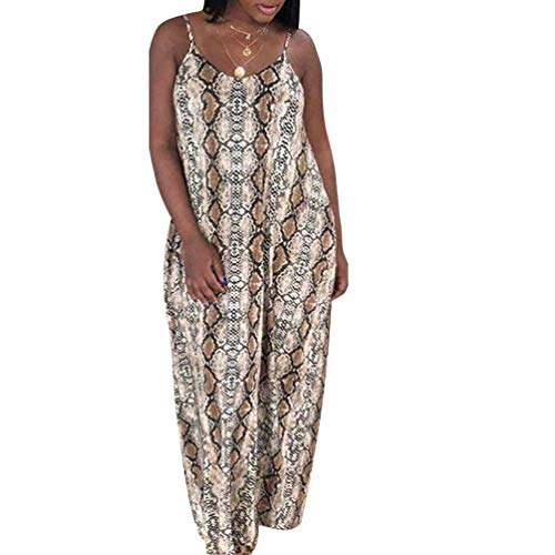 (Womens Spaghetti Strap Dress Summer - Casual Loose Floral Beach Cover Up Plus Size Long Maxi Dresses with Pocket Snake X-Large)