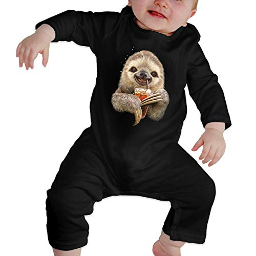 YUE--3BODY Sloth Drinking Toddler Baby Boy Girl Long Sleeve Baby Newborn Boy Superman Bodysuits Onesies Black ()