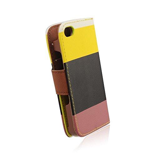 handy-point Flip Case mit Aufstellfunktion, Buchhülle, Klapptasche, Hülle, Fach für EC-Karte für iPhone 6 6S 4,7 Zoll Weiß, Gelb, Schwarz, Braun