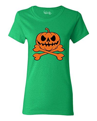 Pumpkin Cross Bones Halloween Costume Womens T-Shirt Kelly Green 2XL ()