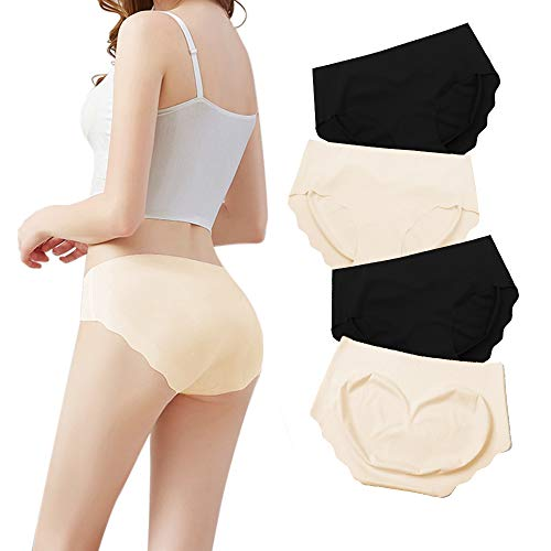 Tarpul Underwear Women's Smooth Hipster Invisible Seamless Brief Silk No Show Panties Mid Rise