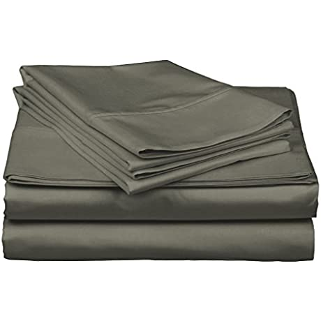 Gotcha Covered Luxe Collection California King Size 100 Percent Combed Cotton Sateen 618 Thread Count Sheet Set With Smarty Bandzz Deep Profile Up To 18 Inch Depth Fog Color