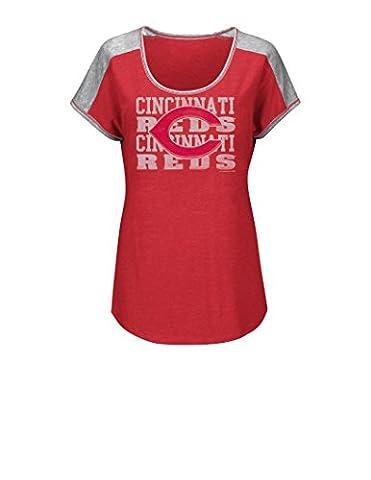 MLB Cincinnati Reds Women's Stay on Target Fashion Top, Small, Athletic Red Heather/Steel Heather - Cincinnati Reds Polo
