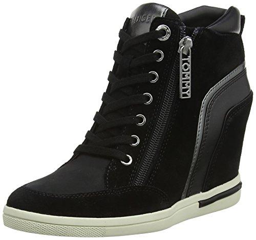 Mid Basse Black Hilfiger Tommy 990 Ginnastica Sneaker da Donna Wedge Nero Scarpe qCx56an