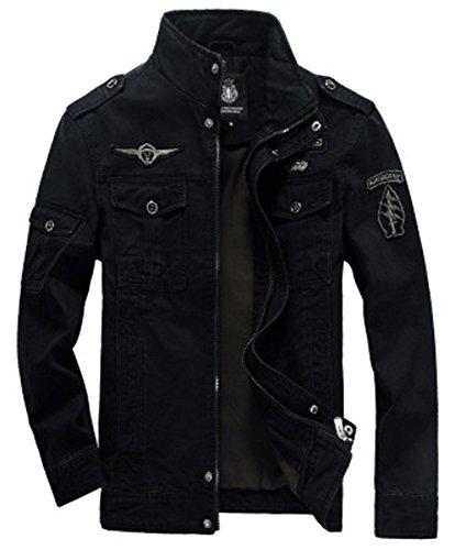 Zip Cotton Slim Coton Veste Col Mince Blousons À Mens Lightweight Noir Printemps Jacket Manteau Automne Homme D'outillage Militaire 04w61