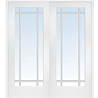 national door company z009324ba primed mdf 9 lite clear glass prehung interior double door