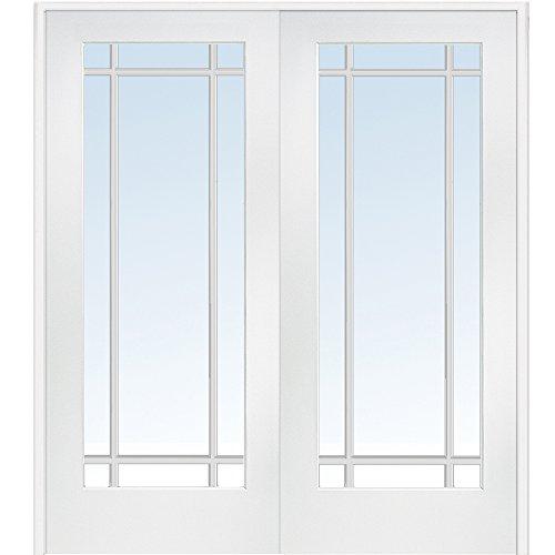 National Door Company Z009323BA Primed MDF 9 Lite Clear Glass, Prehung Interior Double Door, 60'' x 80'' by National Door Company