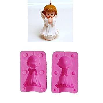Boy Girl Angel Silicone Candle Mold Resin Clay Soap Molds Baby Party Fondant Cake Decorating Tools Chocolate Candy Mould (Girl) Emousport