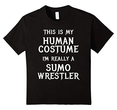 Sumo Wrestler Costume Girl (Kids Funny Sumo Wrestler Halloween Costume Shirt Men Women Kids 8 Black)
