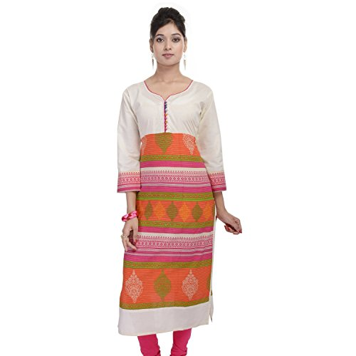 Chichi Women's Casual Solid Cotton Kurti Medium Pink by CHI
