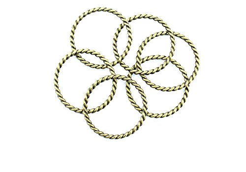 (Price per 500 Pieces Jewelry Making Charms XMXA0 Twisted Circle Pendant Ancient Bronze Findings Craft Supplies Bulk Lots)
