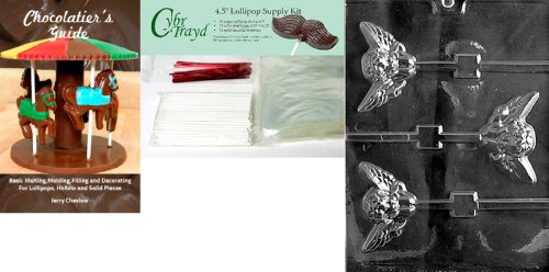 Cybrtrayd Large Cherub Pop Valentine Chocolate Candy Mold with Chocolatiers Bundle of 25 Lollipop Sticks, 25 Cello Bags and 25 Red Twist Ties