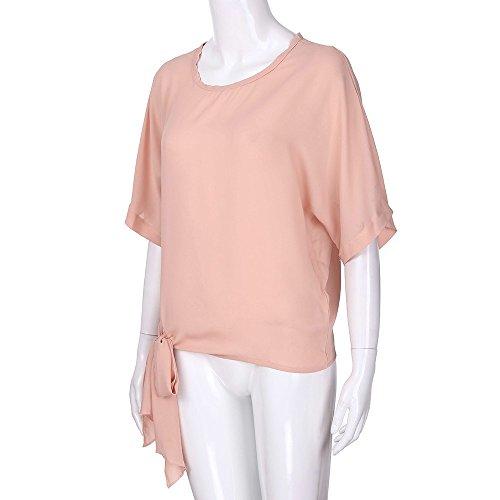 Di Maglietta Maniche Sciolto Lingyan Solido Shirt collo Top Camicia Rotondo Colore Bluse Donna Rosa Metà Casual 5A4Rjq3cL