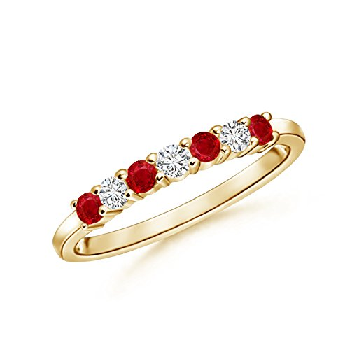 Stone Ruby and Diamond Wedding Band in 14K Yellow Gold (2mm Ruby) (Ruby Diamond Wedding Band)