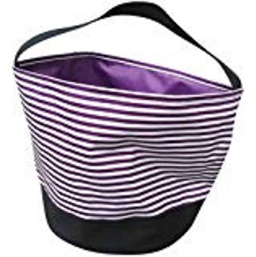 Jolly Jon Halloween Trick or Treat Bags - Kids Candy Bucket Tote Bag - Purple & White Stripes -