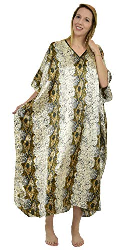 (Up2date Fashion Woemens Satin Caftan/Kaftan in Snake Skin Print, Style Caf-14 Blue)