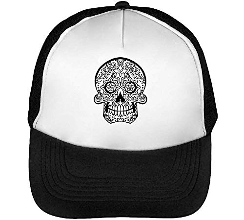 Indian Black Tribal Skull Graphic Gorras Hombre Snapback Beisbol Negro Blanco
