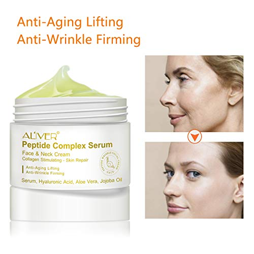 Collagen Multi Peptide Face and Neck Moisturizer Cream, Anti-Aging Day Cream and Night Cream to Smooth Wrinkles, Lightweight, Non-greasy absorb quickly Facial Cream Gel 1 oz ()