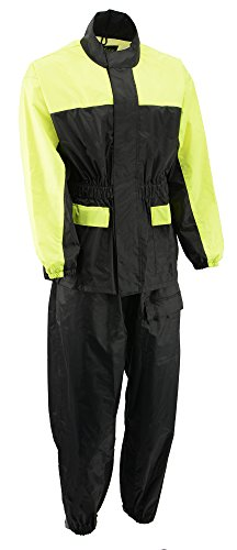 M-BOSS MOTORCYCLE APPAREL-BOS19500-BLK/H-VIS-YEL-Men's two piece motorcycle rain gear.-BLK/H-VIS-YEL-3X-LARGE by M-BOSS MOTORCYCLE APPAREL