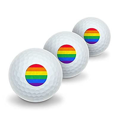 Rainbow Pride Gay Lesbian Contemporary Novelty Golf Balls 3 Pack