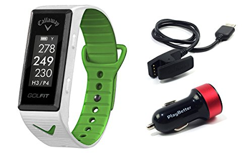 Callaway GOLFIT (White) Golf & Fitness GPS Band Bundle with PlayBetter USB Car Charge Adapter | Fitness & Activity Tracker, Smart Notifications & 30,000+ Worldwide Courses by PlayBetter (Image #6)