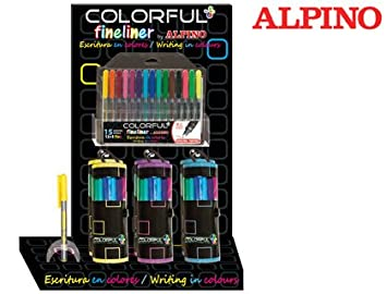 Rotulador alpino colorful fineliner -expositor 8+6 estuches ...