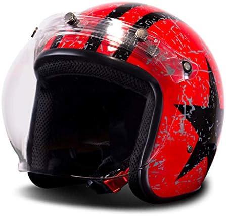 NJ ヘルメット- レトロハーレーオートバイ機関車電動ヘルメット男性と女性USキャプテンバブルミラーヘルメット (Color : Red, Size : 25x24x24cm)
