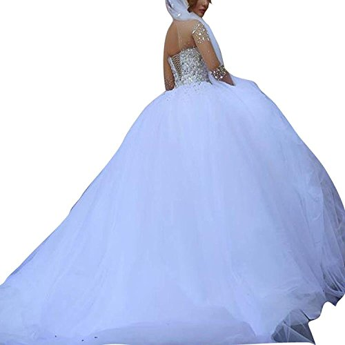 Changjie Kristall Langarm Weiß Damen Hochzeitskleid Brautkleid Perlen Prinzessin rrSRa