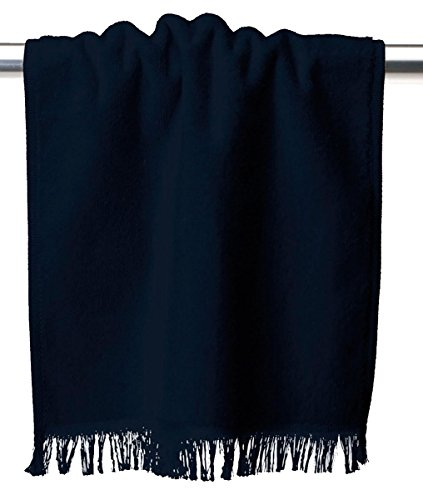 - Towels Plus by Anvil Fringed Fingertip Towel (T600)-Navy,One Size