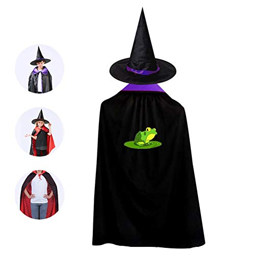 (Frog Pet Cosplay Cloak Wizard Witch Cape Pointy Cap Reversible Ponchos For Children Halloween Party Decoration)